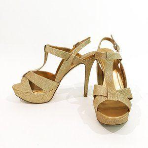 Gold Strap Platform Heels